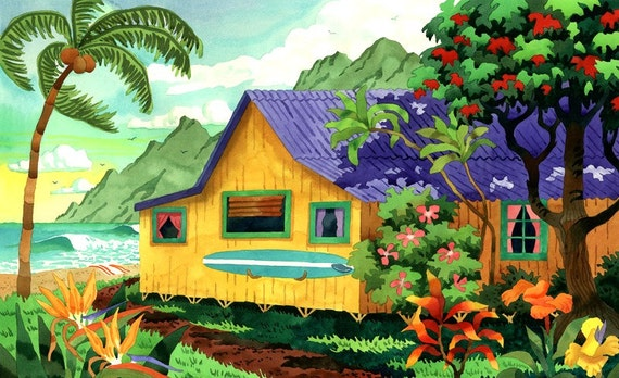 Hawaiian Beach Hut on the Beach with Palm Trees and Tropical Flowers with Surfboard