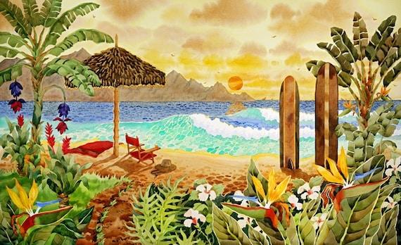 Surfboards on the Beach, Hawaiian Islands, Beach Chair on the beach, Palapa and chair on the Beach, Tropical Flowers