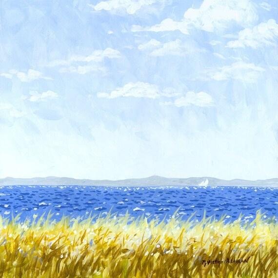 Zen Ocean Painting, Relaxing Seascape, Distant Sailboat, Great Lakes, Sailboat in Ocean