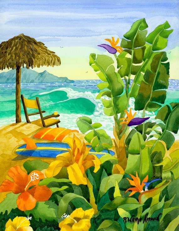 Tropical Painting, Surfboard, Beach Chair with Ocean, Waves, Palapa on the Beach, Robin Altman
