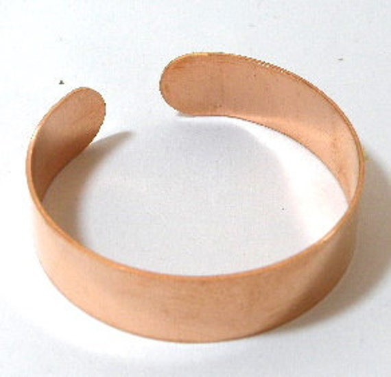 Copper cuff bracelet blank, 1/2 inch x 6 inch, unfinished for flame painting, adding patina, enameling, etching blank
