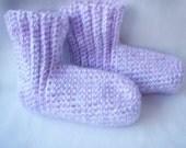 Womens Lilac and White Slipper Socks
