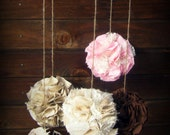 Burlap and Lace Fabric Pom Mobile, Fabric Pomador, Pink Brown and Cream, Nursery Mobile, Baby Crib Mobile