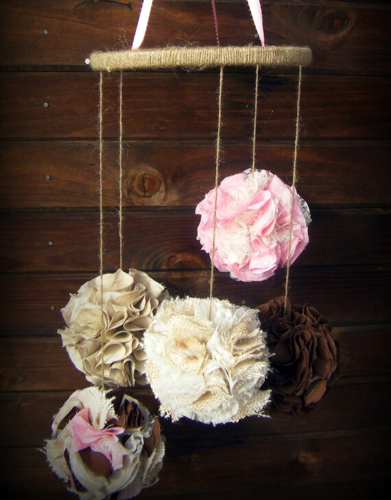 Burlap And Lace Fabric Pom Mobile Fabric Pomador Pink By