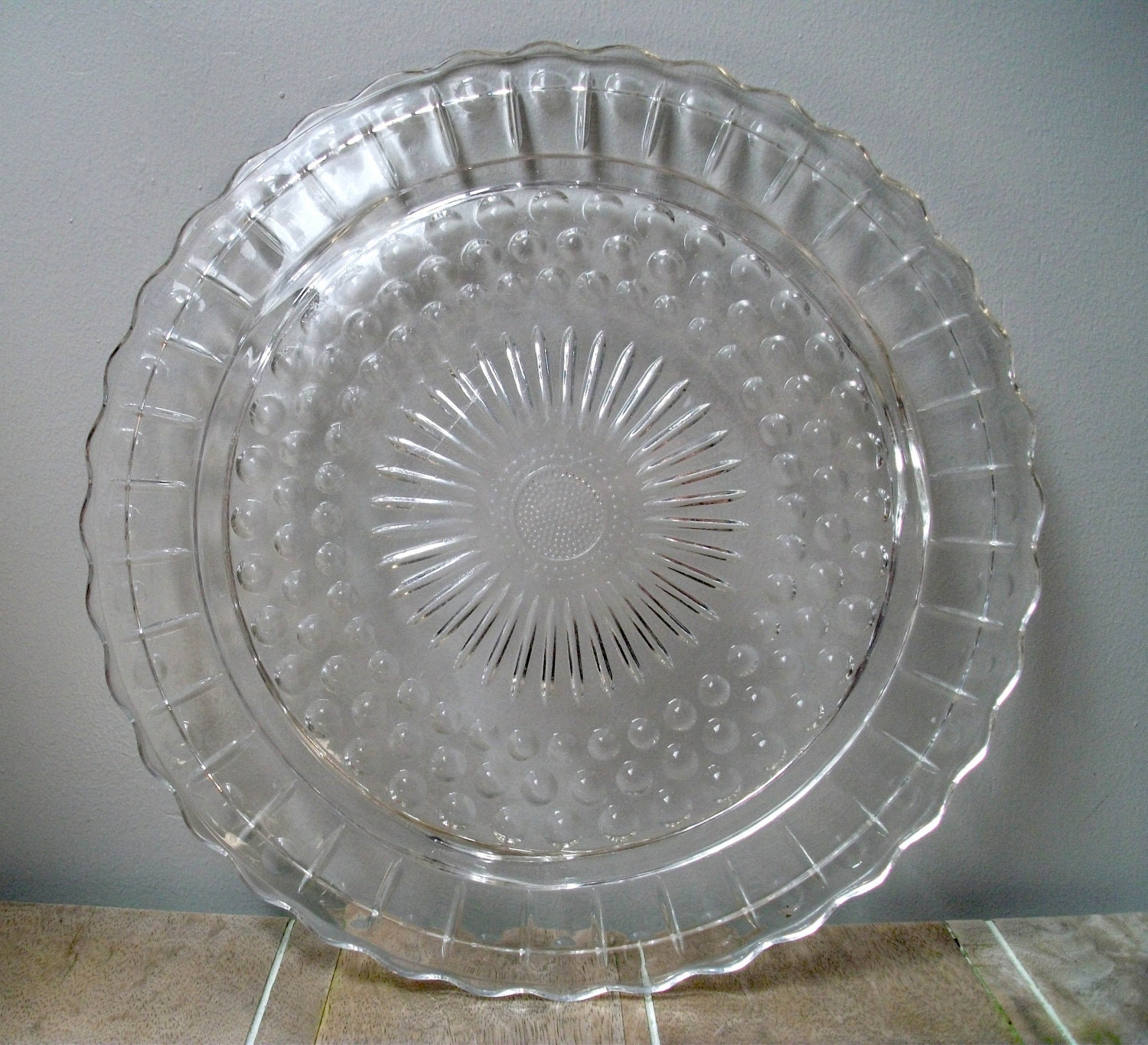 Vintage Cake Plate Anchor Hocking Crystal Bubble Pattern
