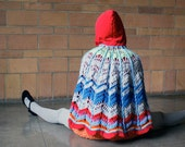 Hooded CAPE corduroy red blue gray poncho