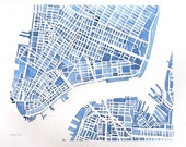 Reserved Downtown New York City Brooklyn City Map Watercolor 12x9 Modern blueprint Grid City Landscape