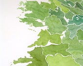 Custom map 9x12 watercolor Personalized map wall decor