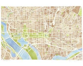 Washington DC City Map Print 8x10 Print Ready to Frame