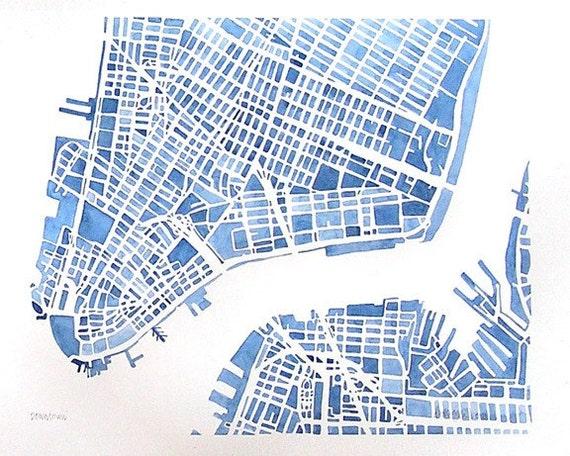 NEW YORK / City Street Grid Map Art Poster   The City Man ...  New York City Grid Map