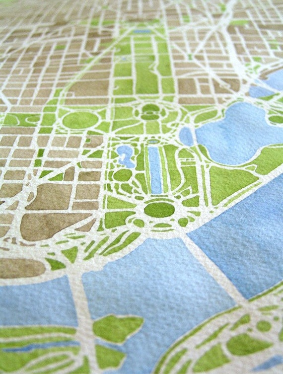 Washington Dc City Map Original Watercolor Large 11x17 Hand