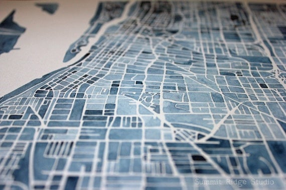 Memphis Watercolor Painting City Map Memphis Tennessee Indigo Blueprint 11x14 with white mat