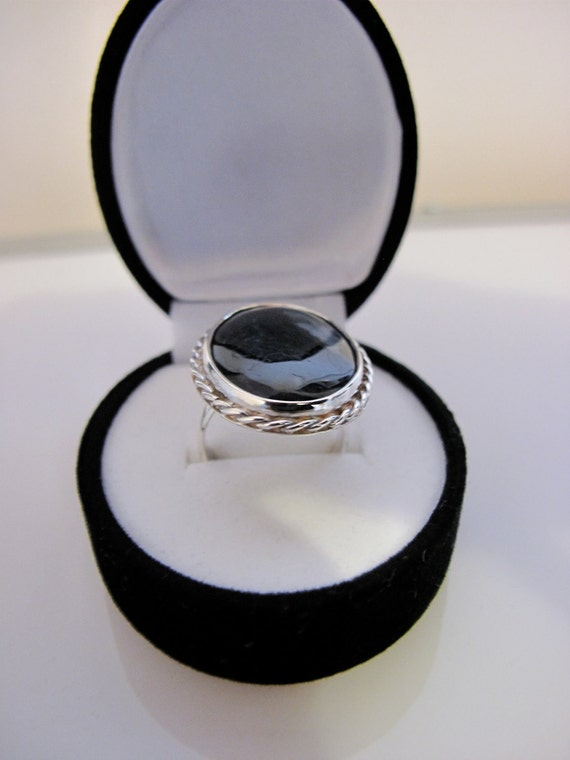 Handmade Sterling Silver Ring Set With Moss Agate