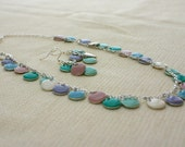 Spring Drops, Pastel Enameled Charm Necklace