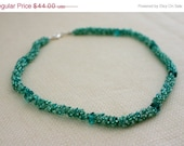 MOTHERS DAY SALE Bead Woven Necklace - Seed Beads, Crystals, Sparkly, Mint, Teal, Sea-Foam Green