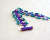 Beaded Bracelet - Woven, Hand stitched, Seed Beads, Purple, Aqua, Gold, Soft Flexible