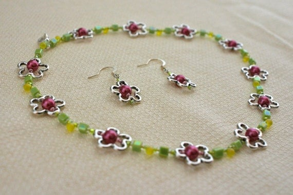Photo: Pewter Flower Necklace and Earring Set - Crystal Pearls, Seed beads, Fuchsia, Pink, Green, Yellow by andreaturinijewelry