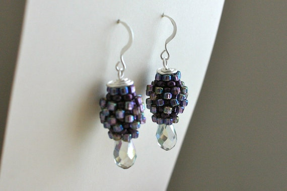 Photo: Beaded Bead Dangle Earrings with Glass Drops - Silver, Purple, Iris, Rainbow, Facetted Crystal, Wire Wrapped by andreaturinijewelry
