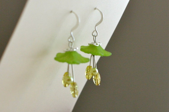 Photo: Green Garden Flower Dangle Earrings - Lemon, Yellow, Green, Lime, Silver, Lucite, Simple Earrings by andreaturinijewelry