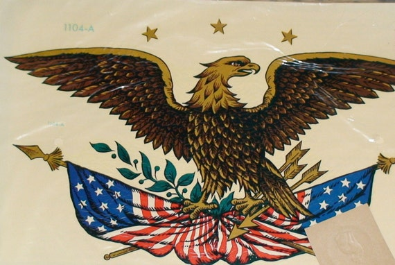 Two Vintage Patriotic American Eagle Decals New In Package