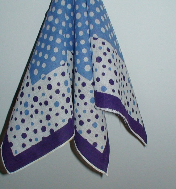 Vintage Handkerchief, New Stock Stitched Hem, Shades of Blue Floral Embroidery