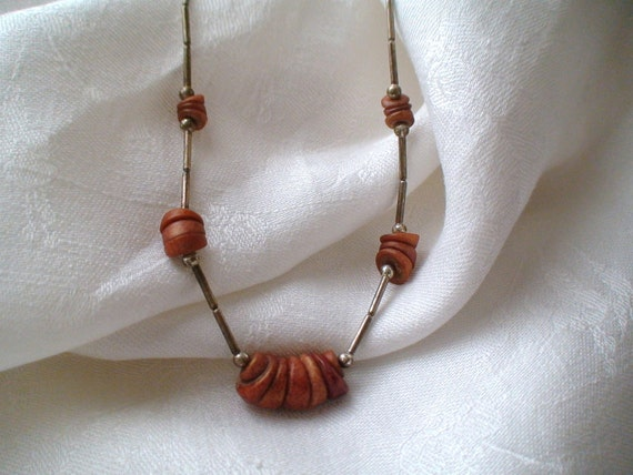 Vintage Hippie Days Liquid Silver and Heishi Beads Necklace