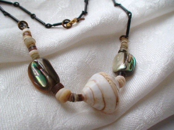 Reserved for Frannie Bee -- Vintage Hippie Days Sea Shell,  Abalone, and Heishi Beads Boho Choker