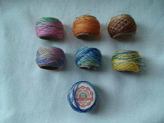 Vintage Instant Collection --Seven J & P Coats Tatting Crochet Thread Spools