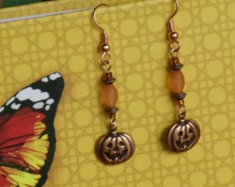 Copper Jack-o-lantern Earrings Halloween