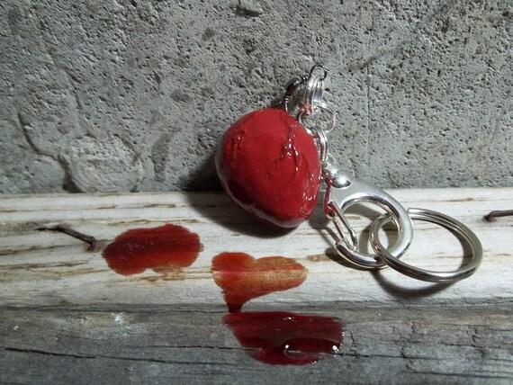 red human heart keychain bag purse charm human heart ornament heart bag charm heart keychain macabre keychain horror keychain unusual charm