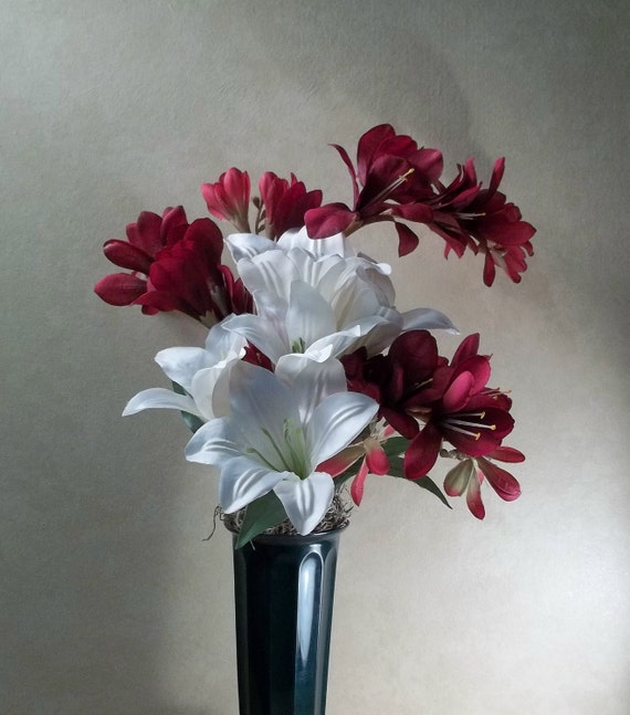 Memorial Flowers for Grave Decoration white lilies and red freesia
