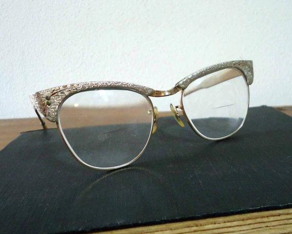 Vintage Eyeglasses Ladies Silver Metal
