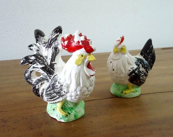 Vintage Chicken Salt & Pepper Shakers - Hen and Rooster