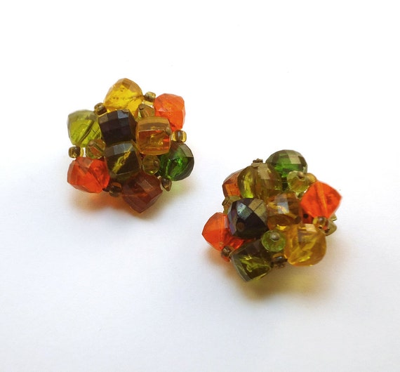 Vintage Earrings Green & Orange Cluster Bead Clip-ons from W. Germany