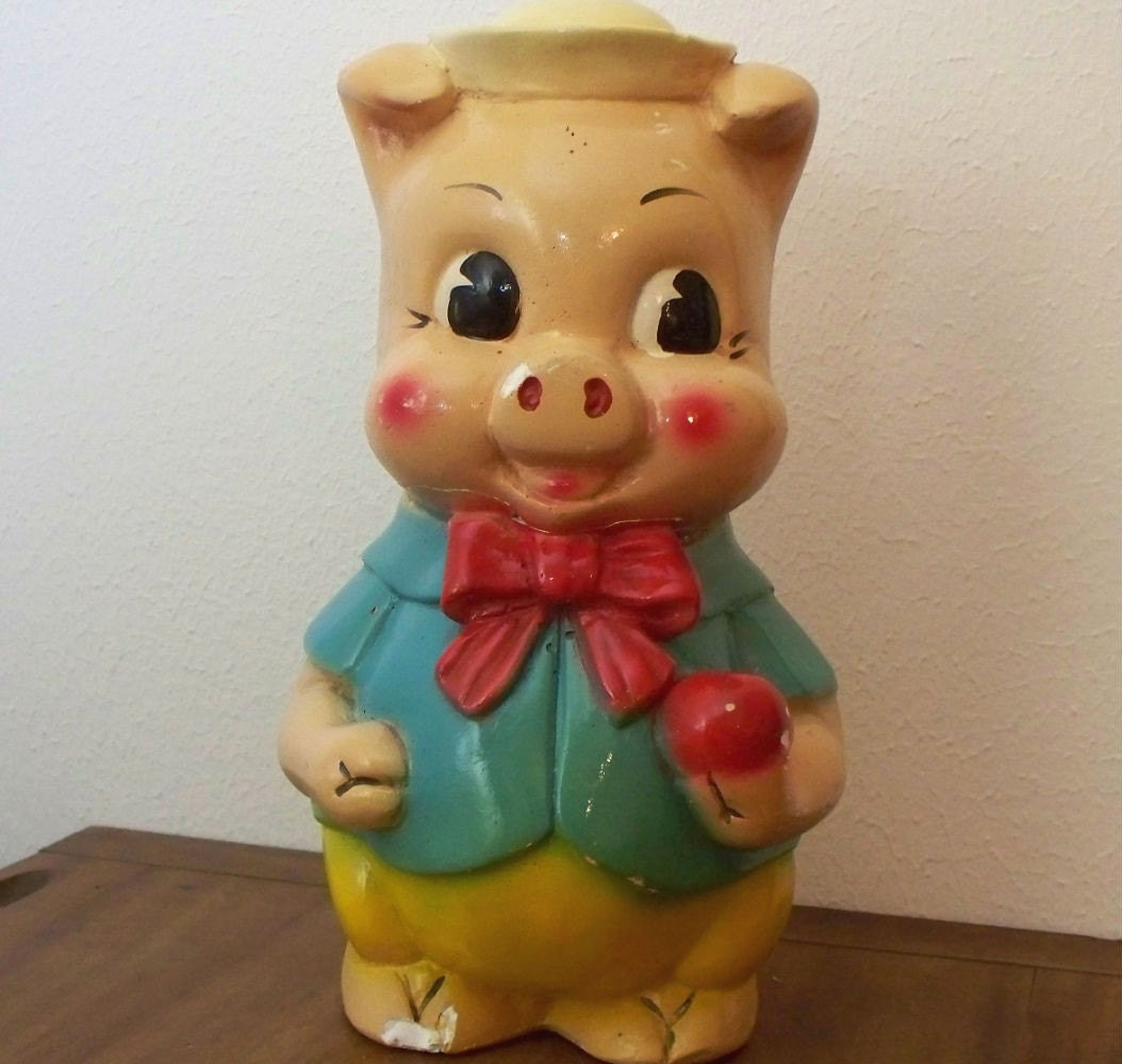 vintage chalkware piggy bank w sailor hat. Black Bedroom Furniture Sets. Home Design Ideas