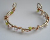 Sterling Silver Cuff Bracelet, Crystal and Pearl Jewellery