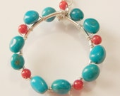 Handmade Silver Necklace, Circle Necklace, Turquoise and Coral Necklace
