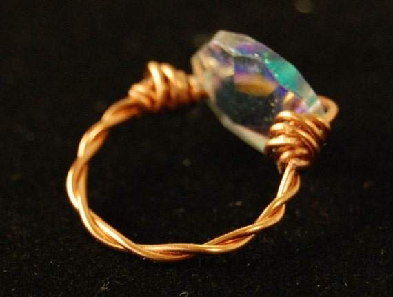Sale - Copper Ring, Copper Jewellery, Twisted Copper and Glass Ring