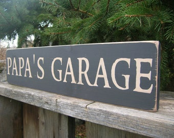 Papa's or Pop's Garage Distressed Wood Sign