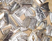 Huge Assortment 1 Pound Silver Belt Tips & Keepers