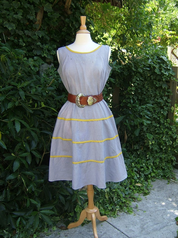 Vintage Navy Blue & White Check Seamed Waist Rockabilly Dress sz Lg