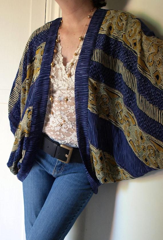 Upcycled Vintage Fabric Batwing Draped Shrug Purple Gold Rayon L XL XXL