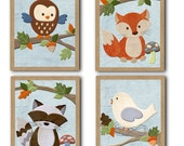 Original Forest Friends WALL ART for NURSERY, baby's room to match bedding frameable set of 4 8x10 inch prints wall decor Project Nursery