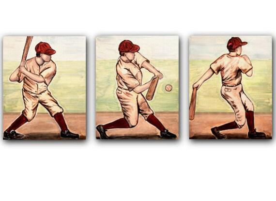 Vintage Baseball Batter Collection set of 3 paper prints (light skinned)