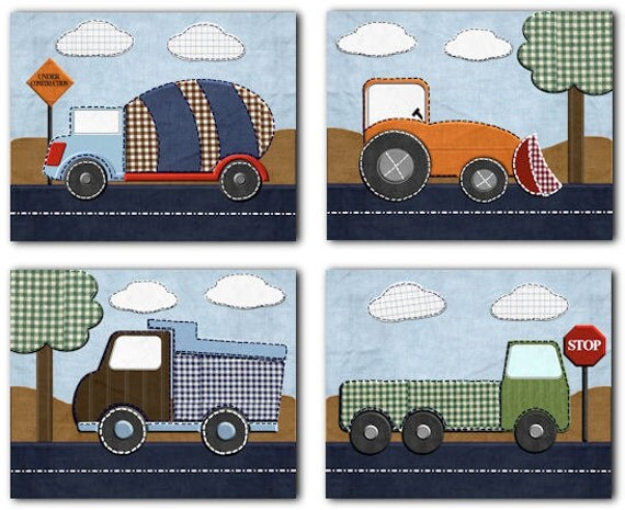 Construction Trucks for Jeremy Nursery Bedding Art for baby boy Kids room Set of 4 paper prints