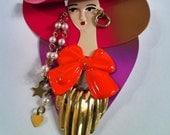 1980s pretty lady pin