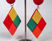 80s wood earrings in colorful diamond shapes