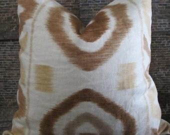 SALE Designer Pillow Cover - Thom Filicia Ikat - 16 x 16, 18 x 18, 20 x 20 Prospect Brown