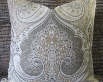 3BM Designer Pillow Cover-  Lumbar, 16 x 16, 18 x 18, 20 x 20, 22 x 22, 24 x 24-  Latika Ikat Gray