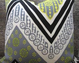 Trina Turk Designer Pillow Cover - 18 x 18 - Tangier Flame Print Driftwood